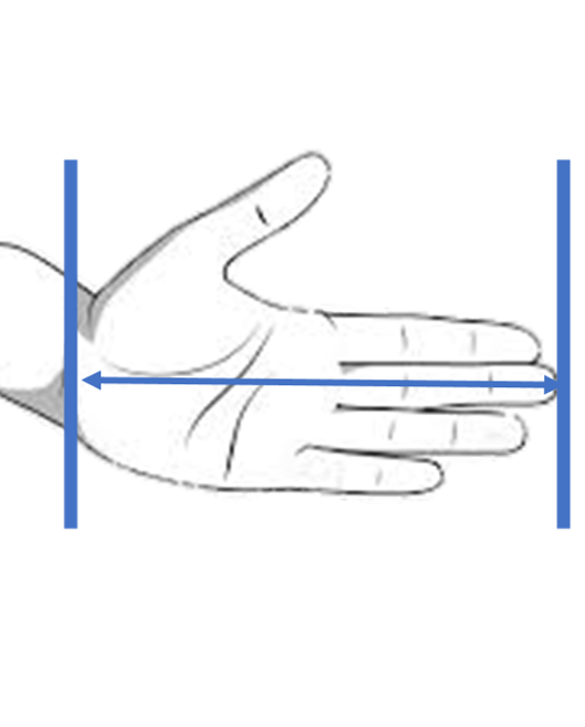 Measuring hand for grip size